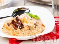 Ориз с подправки, гъби манатарки и пилешко филе